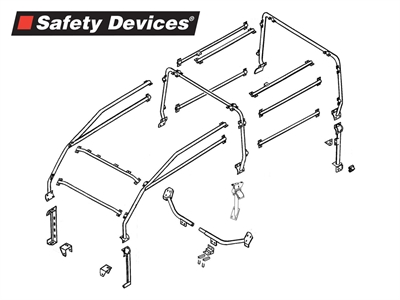 ROLL CAGE SAFETY DEVICES ESTERNO A 6 PUNTI DEFENDER 90 STATION WAGON - Picture N.1